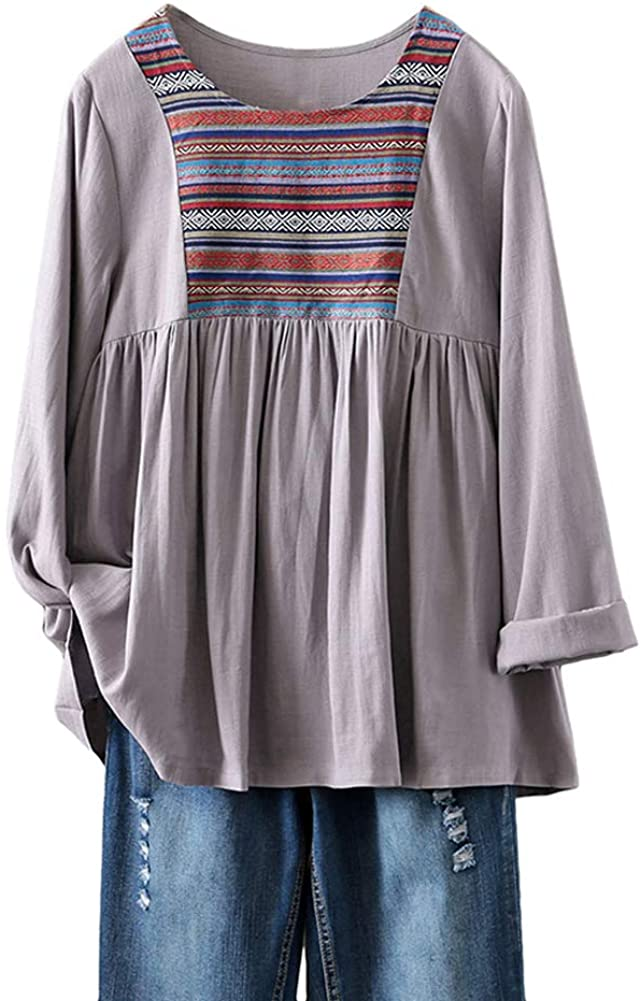 Mordenmiss Women's Boho Swing Tops Linen Long Sleeve Casual Loose T-Shirt Blouse