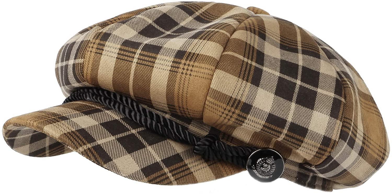 WITHMOONS Tartan Plaid Check Beret Newsboy Hat Soft Fabric SLG1122