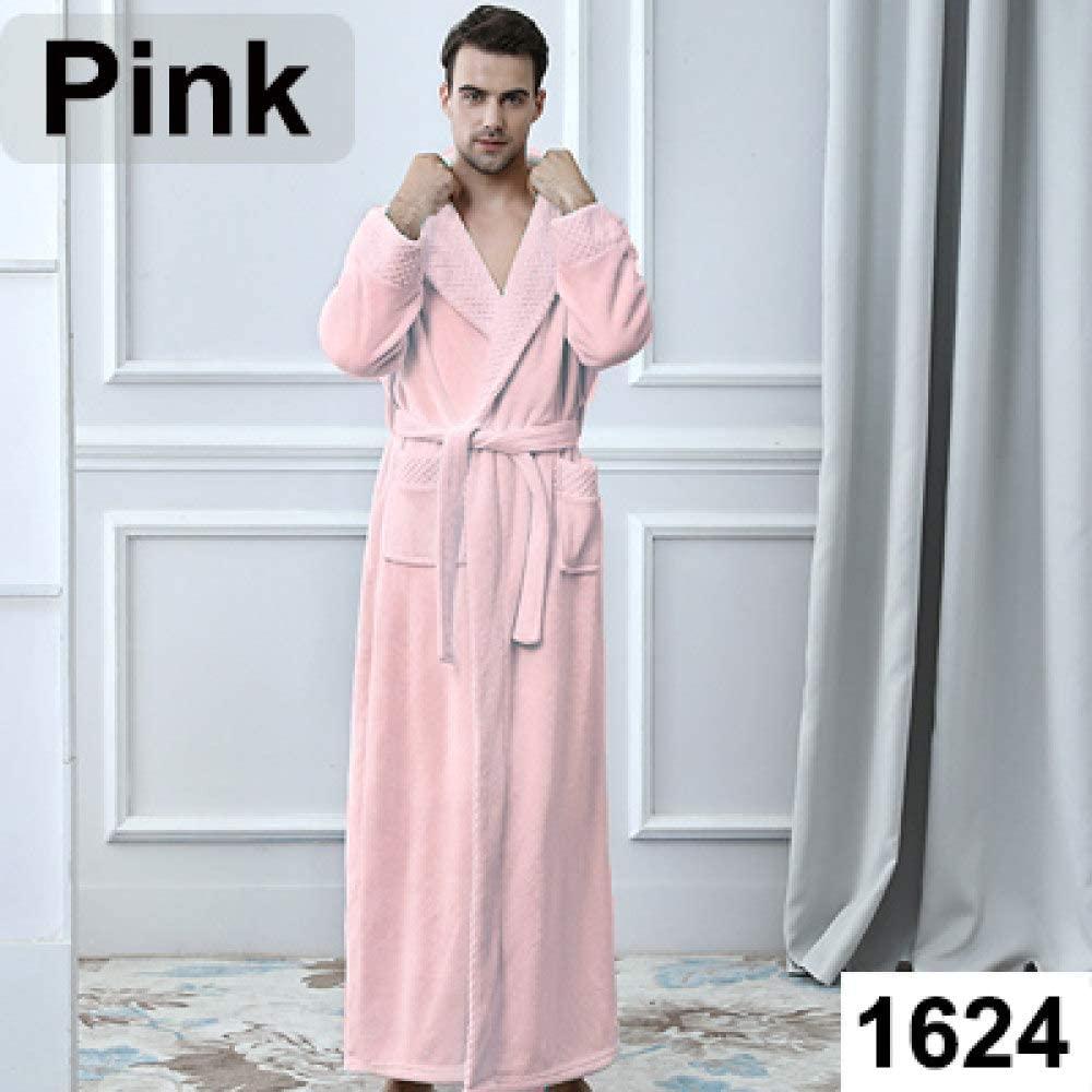llwannr Bathrobe Robe Nightgown Sleep,Lovers Extra Long Plus Size Winter Warm Flannel Coral Bath Robe Men Women Knitted Waffle Kimono Bathrobe Dressing Gown,Men Pink,M