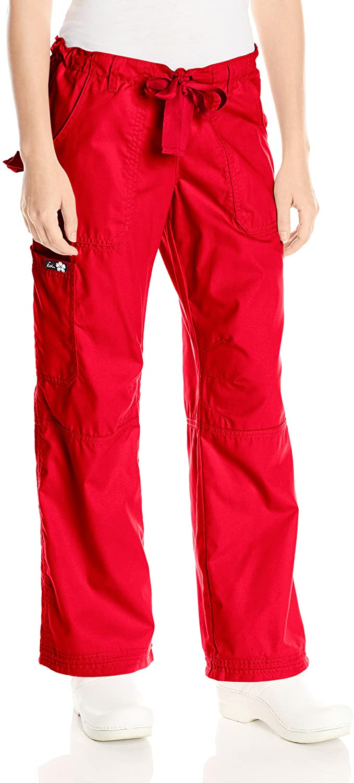 KOI Women's Lindsey Ultra Comfortable Cargo Style Scrub Pants Sizes, Ruby, X-Small/Petite