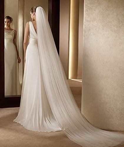 HHTC Bridal Veil with Comb, Wedding Veil, Bridal Veil, Bridal Veil with Comb, Wedding Veil, (Color : Ivory, Item Length : 300cm)