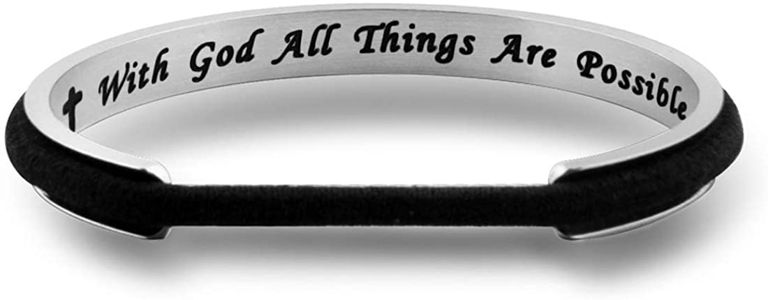 Zuo Bao Religious Jewelry with God All Things are Possible Hair Tie Bracelet Faith Cuff Bangle Bracelet Christian Gifts