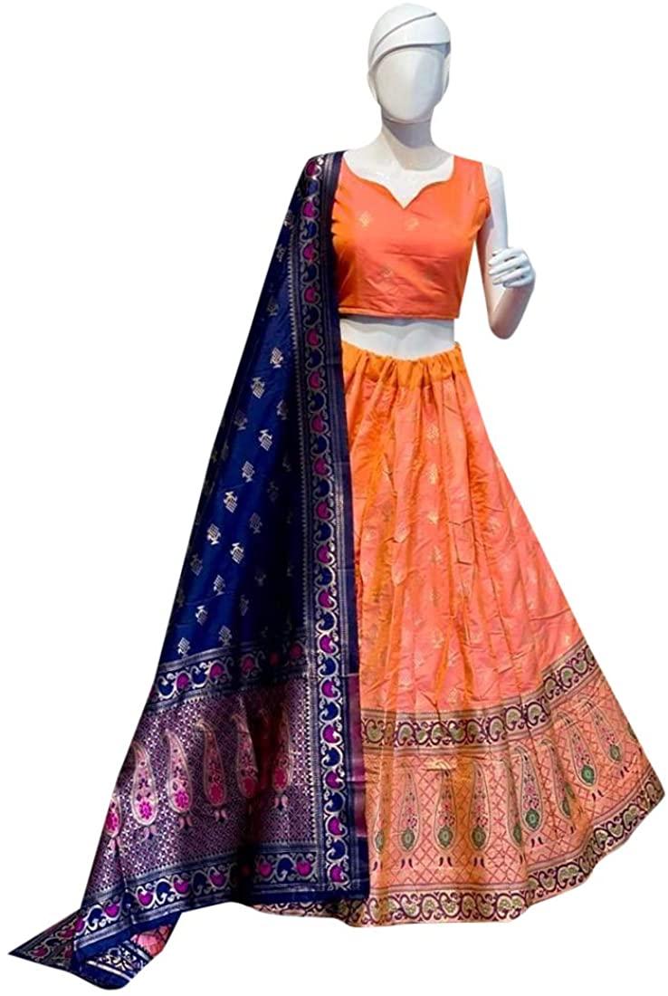9164 Orange Ethnic Indian Hit Pure Banarsi Silk Lehenga Choli Bridal Party Festive Wear Women Girls Semi Stitched