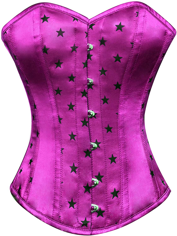 Purple Satin Black Stars Plus Size Waist Shaper Bustier Overbust Corset Costume