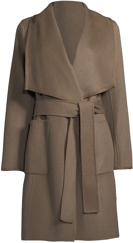 Diane von Furstenberg Shellie Khaki Wool Wrap Coat