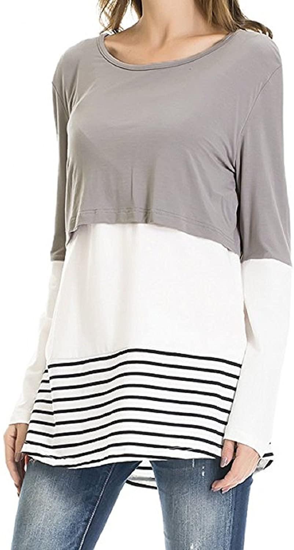 YUNAR Ladies Color Block Nursing Maternity Long Sleeve T-Shirt