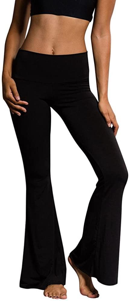 LINKIOM Women High Elastic Waist Bell-Bottom Long Trousers Skinny Yoga Flare Dance Pants