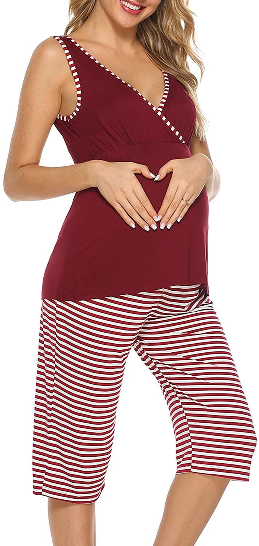 YAWOVE Pajamas Set for Women Cotton Maternity Nursing Hospital Sleepwear Pregnancy PJS Set Breastfeeding S-XXL