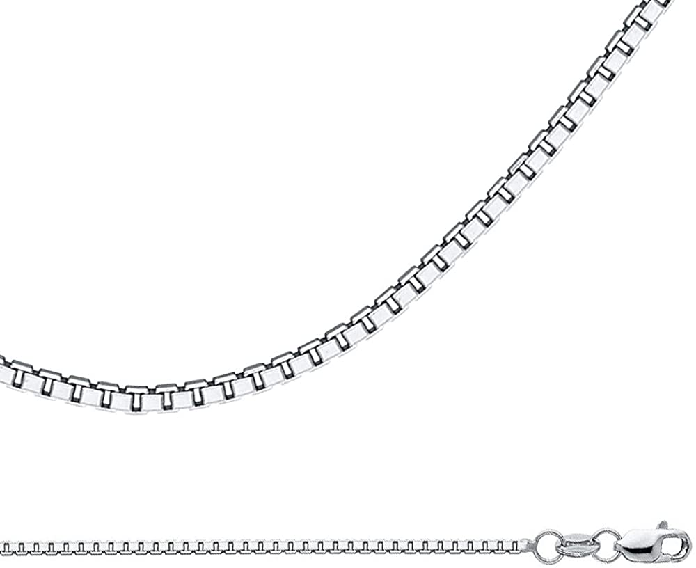 Solid 14k White Gold Necklace Box Chain Plain Square Links Polished Style Genuine 1.2 mm 16,18,20,22,24 inch