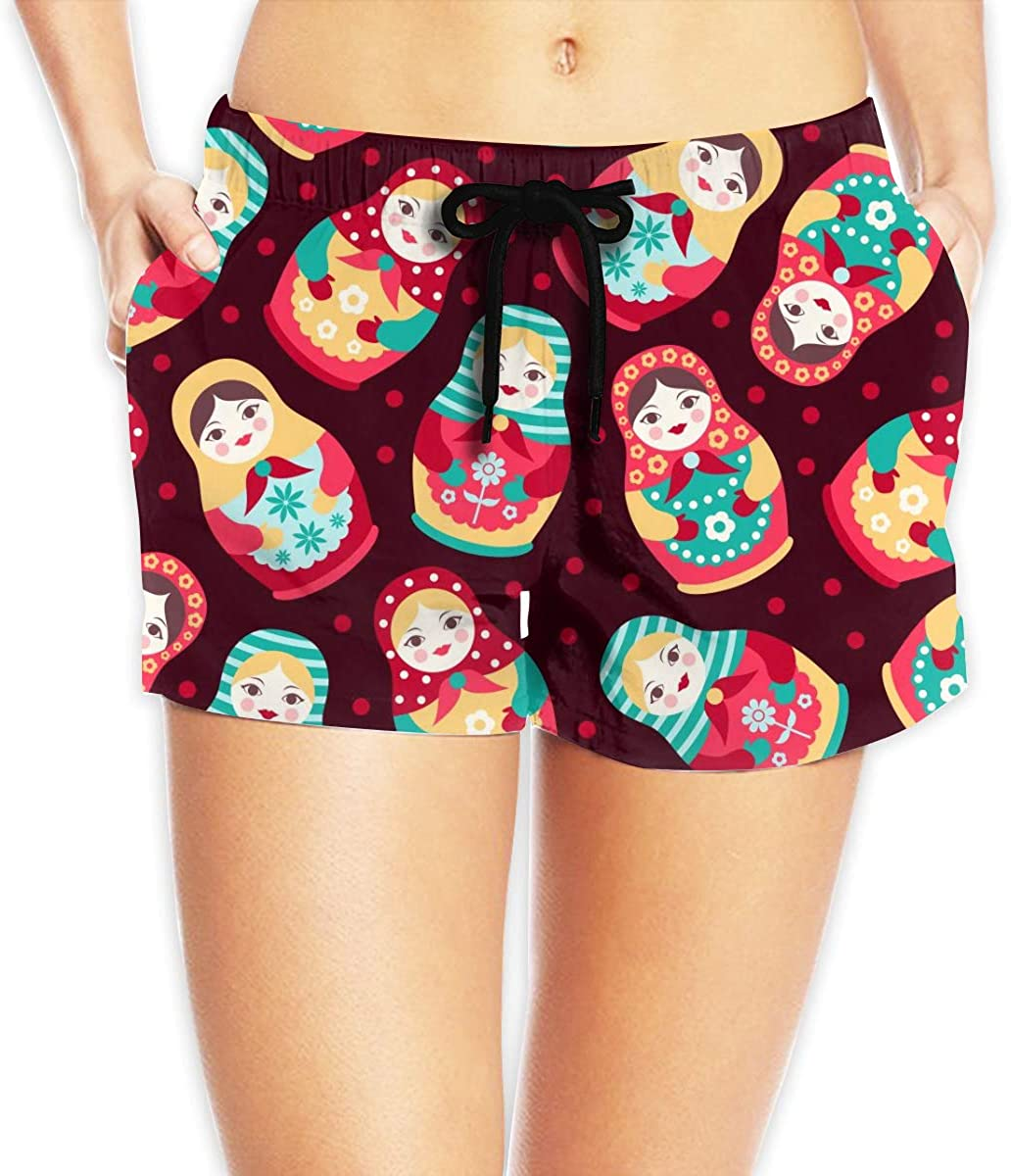 MOCSTONE Russian Dolls Womens Beach Shorts Board Shorts with Pocket Swimming Trunks