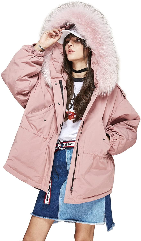 S.ROMZA Women Raccoon Fur Collar Winter Warm Down Jackets Outwear Coats