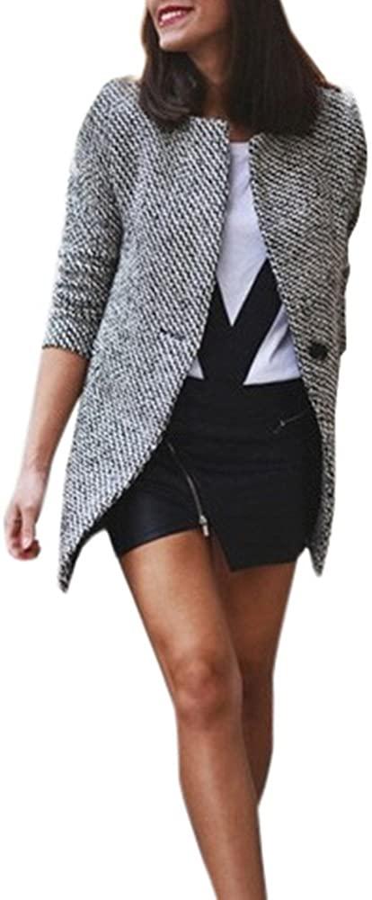 ZEFOTIM Women Slim Winter Warm Wool Lapel Long Coat Trench Parka Jacket Overcoat Outwear