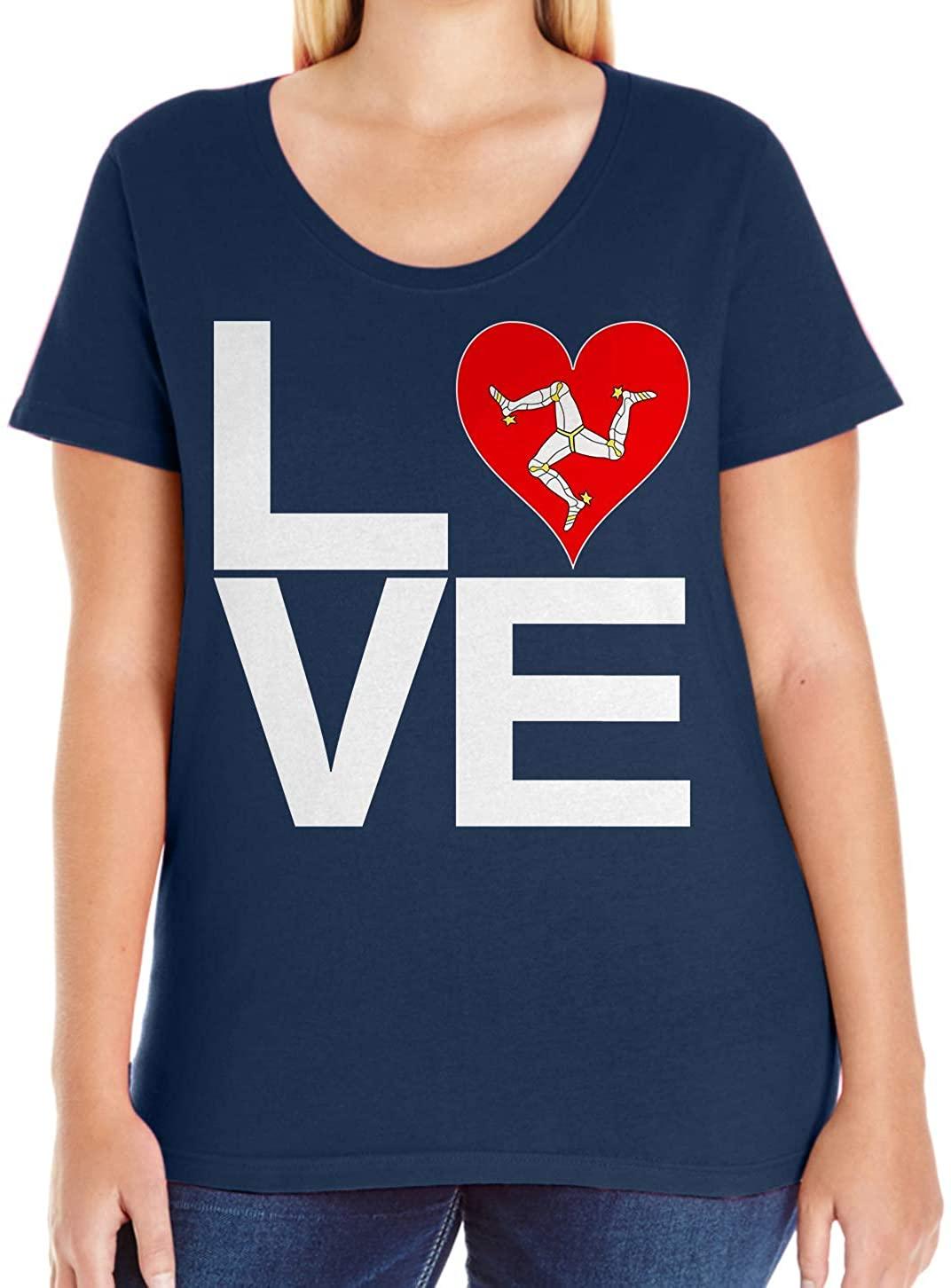 Tenacitee Women's Love Block Isle of Man Heart T-Shirt