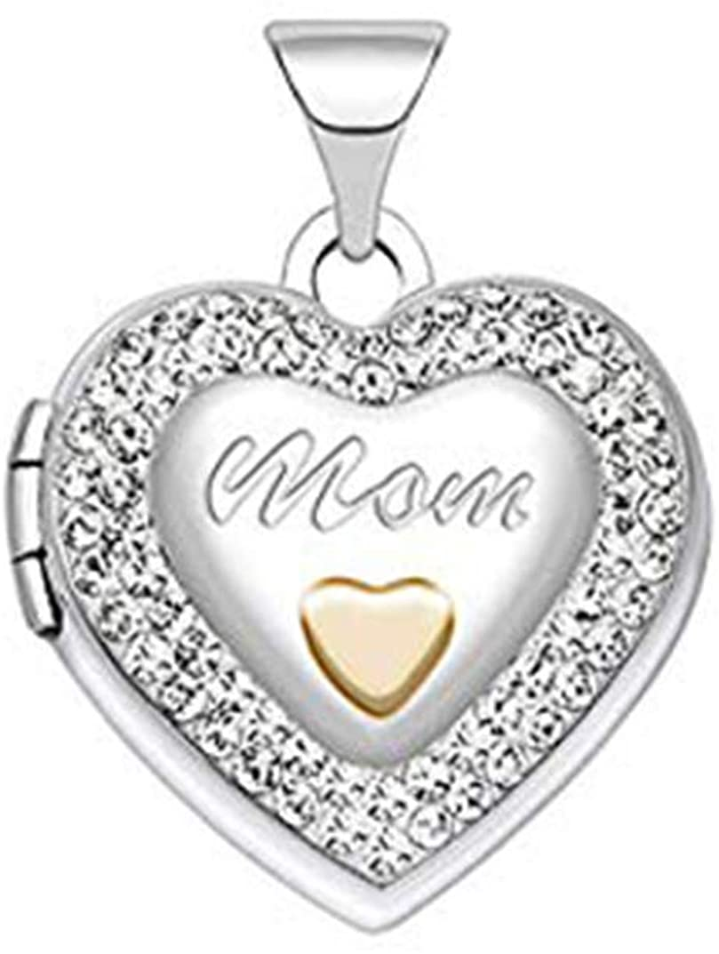 US Jewels And Gems Ladies 925 Sterling Silver 0.625 Mom Heart Locket Pendant