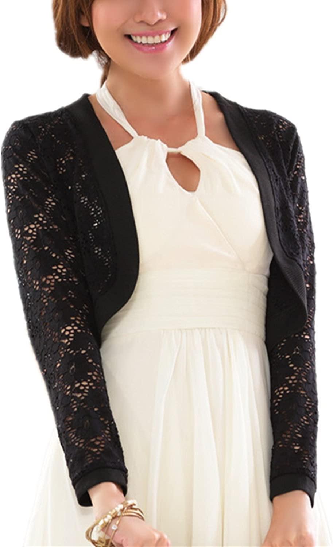 YACOPO Shrug Womens Long Sleeves Lace Crochet Crop Chiffon Cardigan Shrug Top