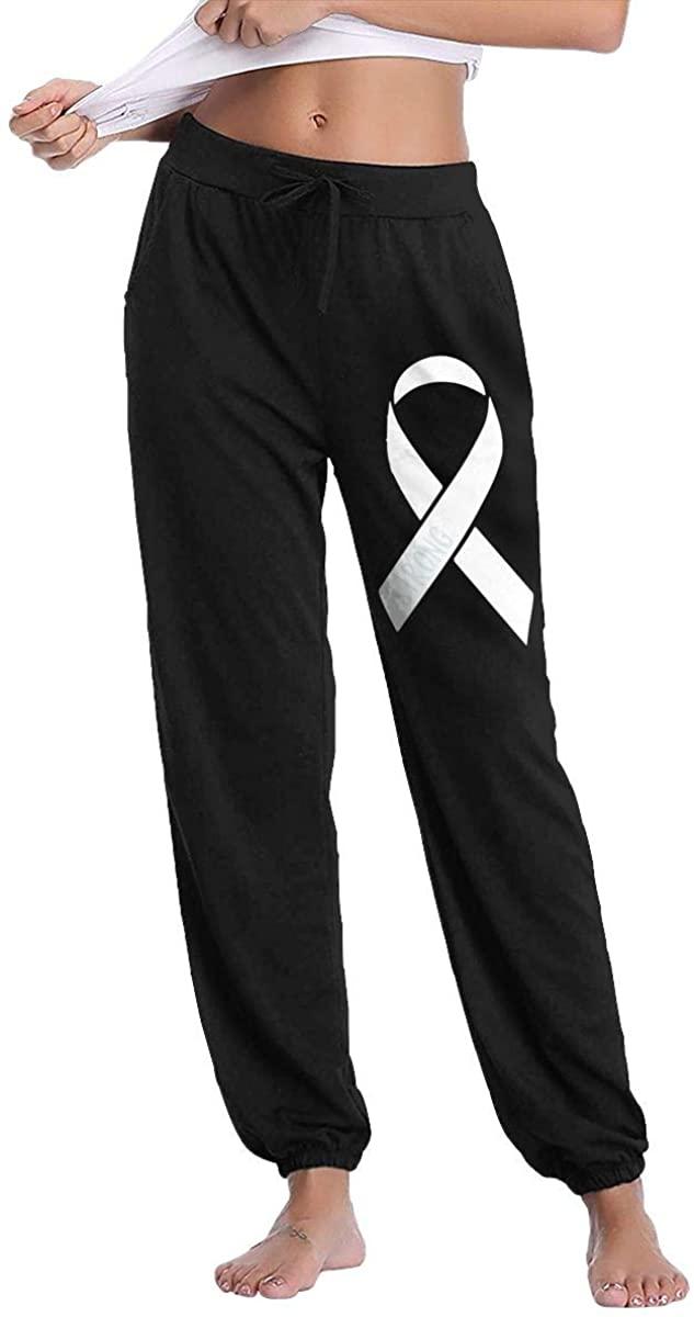 W78PANT-7 Lung Cancer Awareness Strong Women's Drawstring Casual Jogger Sweatpants Pants