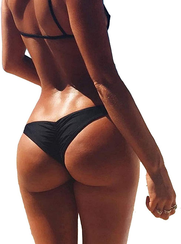 SAYFUT Sexy Women's Bikini Bottom V Cheeky Ruched T-Back Ladies Swimsuit