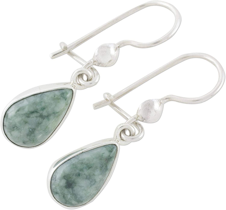 NOVICA Green Jade and .925 Sterling Silver Teardrop Shaped Dangle Earrings, Pale Green Tears'