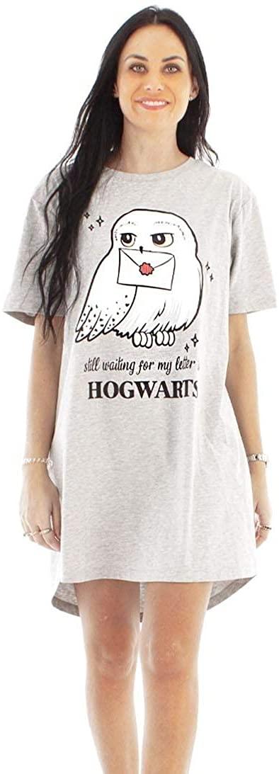 Vanilla Underground Harry Potter Hedwig Hogwarts Women's Grey Marl Cotton Night Dress Pyjama