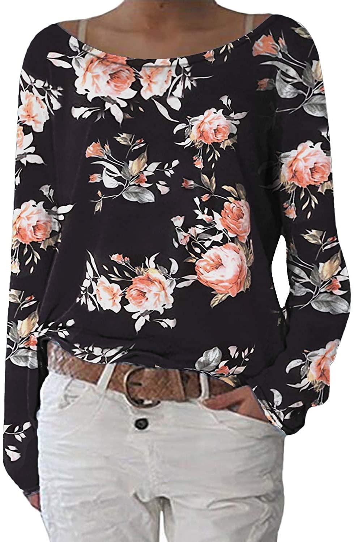 ZANZEA Women's Long Sleeve Casual Pullover Tops Crew Neck Loose Lightweight Sweater Knit Sweatshirt Blouse