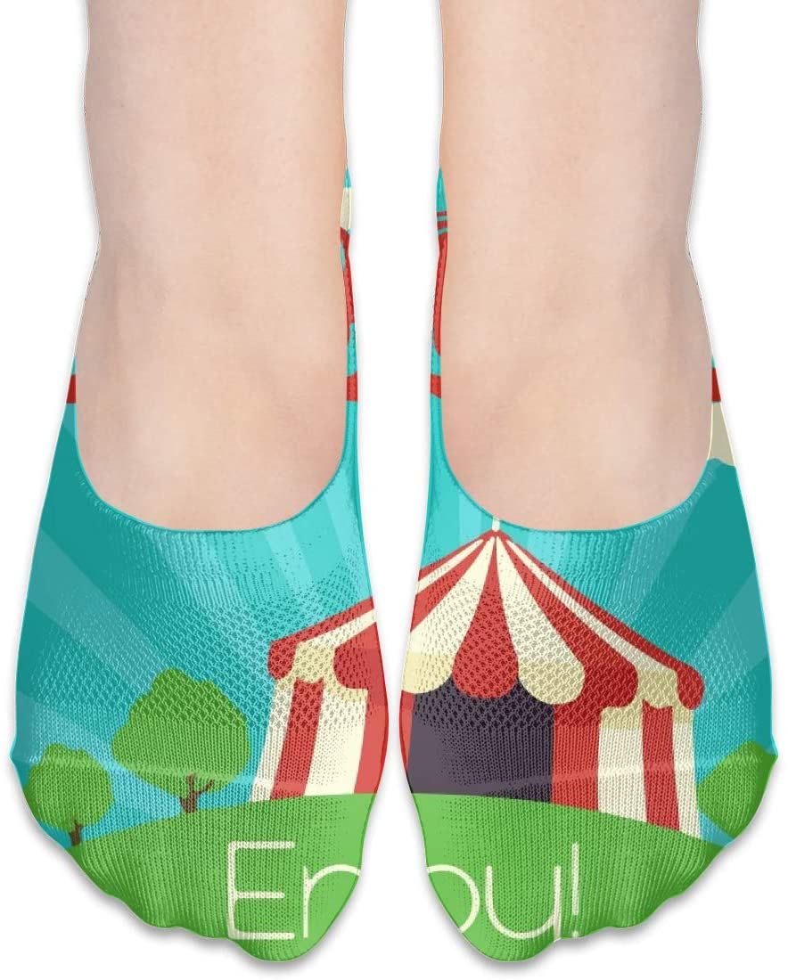 FriendEver No Show Socks,Old Circus Enjoy Casual Invisible Flat Socks,Breathable Anti-Odor Low Cut Women Cotton Sox,Non Slip Liner Sock