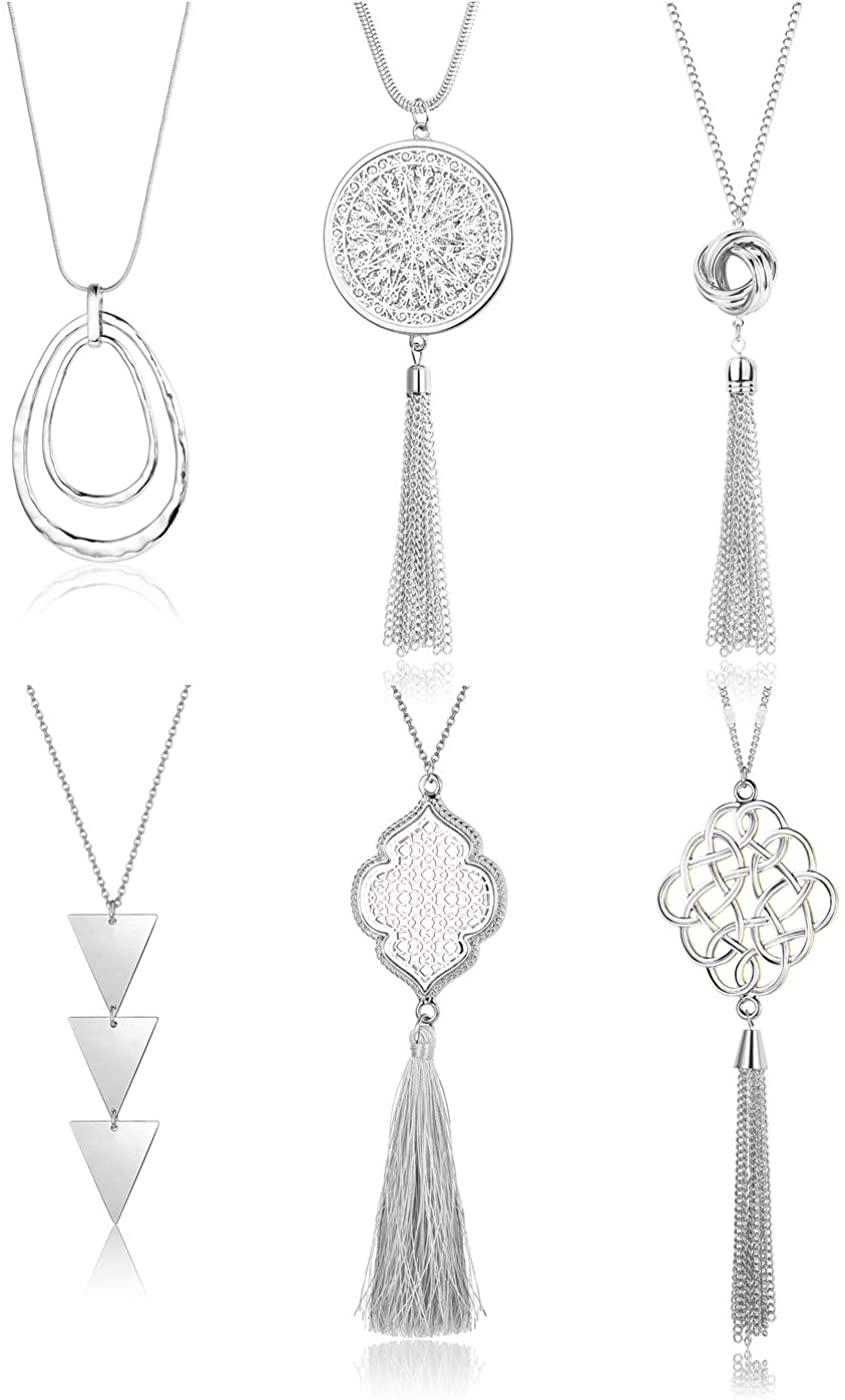 Finrezio 6PCS Long Pendant Necklace Set Circle Knot Tassel Y Strands Necklace Statement Necklace for Women