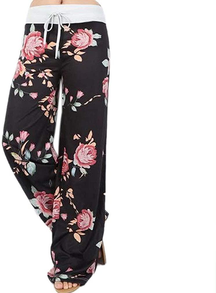Paixpays Women's Casual Pajama Pants Floral Print Drawstring Palazzo Lounge Pants