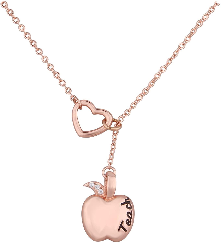 KUIYAI Teach Inspired Apple Pendant Y Necklace Open Heart Teacher Necklace