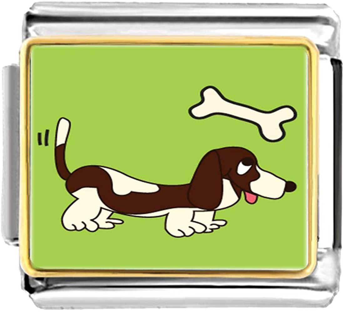 GiftJewelryShop Gold Plated Basset Hound Dog Brown Bracelet Link Photo Italian Charm
