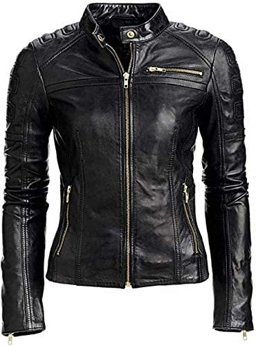 Womens Real Lambskin Slim Fit Cafe Racer Bikers Leather Jackets in different colors and sizes