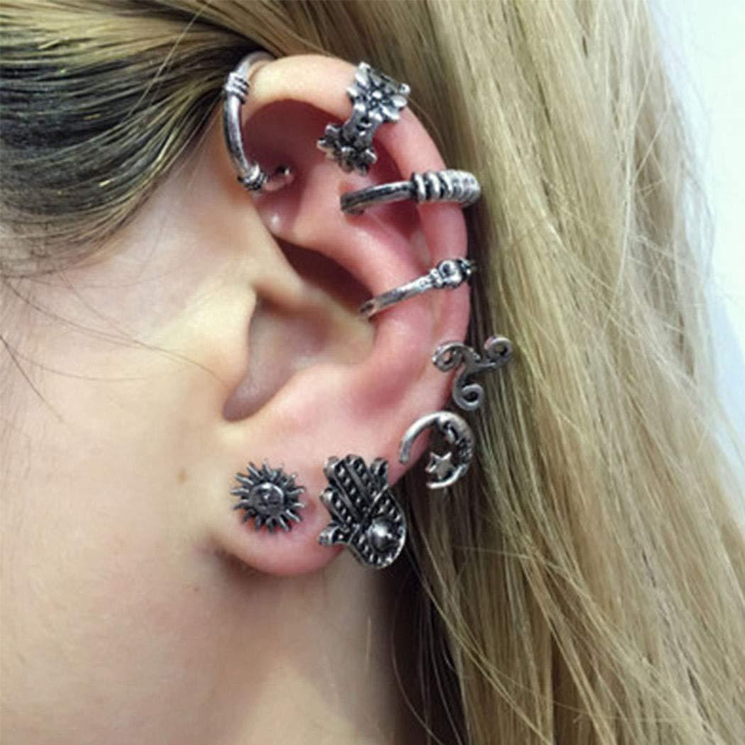 Fdesigner Geometric Cuff Earrings Set Vintage Ear Stud Sun Fatima Earrings Jewelry for Women and Girls