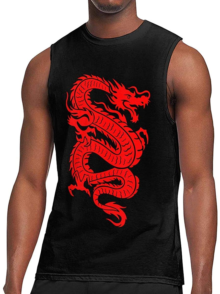 Mens Dragon Chinese Sleeveless T-Shirt Top Cotton Exercising Muscle T-Shirts