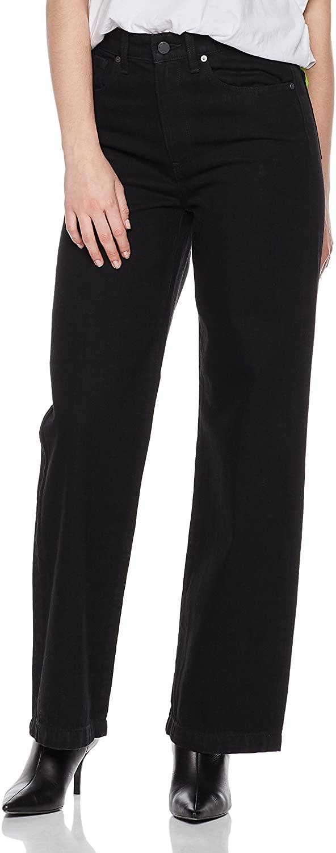 HALE Women's Valerie High Rise Wide Leg Trouser Jean 28 Noir