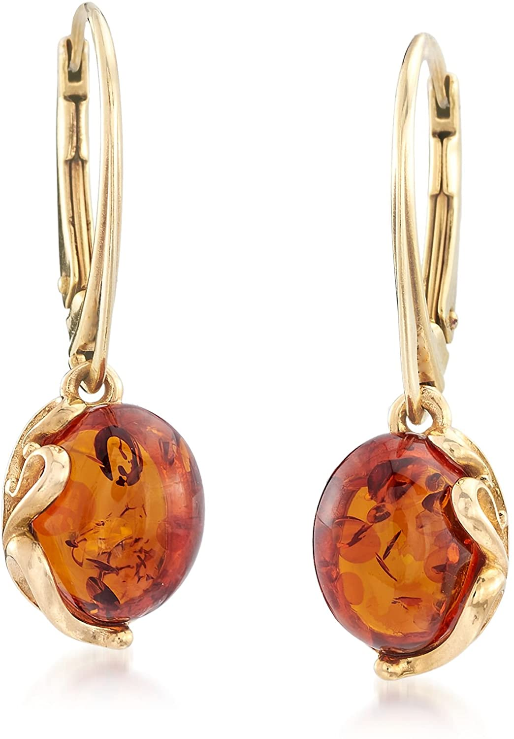 Ross-Simons Round Amber Drop Earrings in 18kt Gold Over Sterling For Women