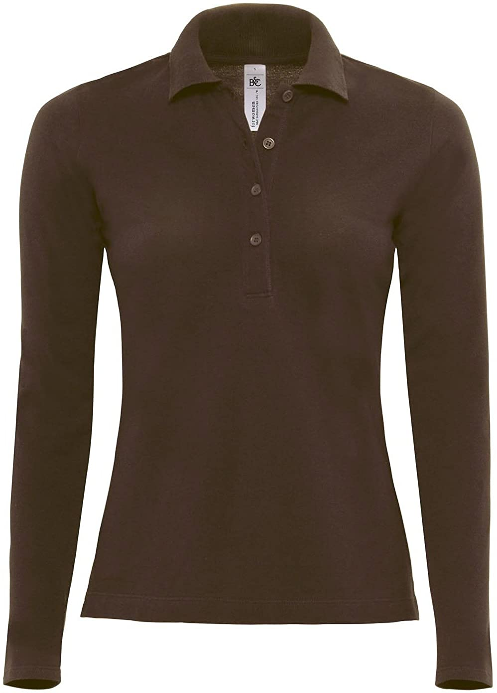 B&C Womens/Ladies Safran Long Sleeve Polo Shirt (6 US) (Brown)