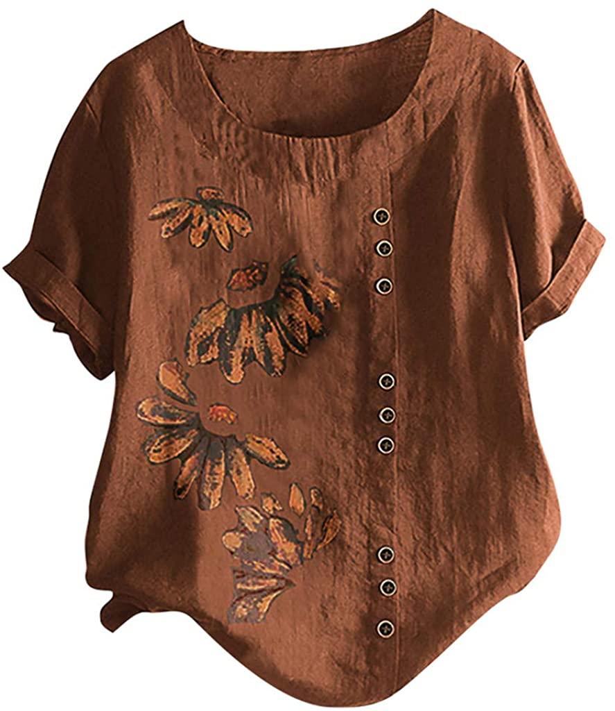 KESEELY Plus Size Women Short Sleeve Cotton Linen O-Neck Button Print Blouse Top T-Shirt