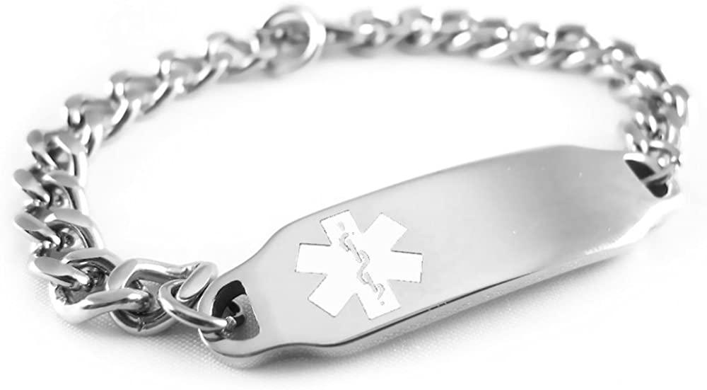 My Identity Doctor - Pre-Engraved & Customizable Peanut Allergy Alert ID Bracelet, White Symbol