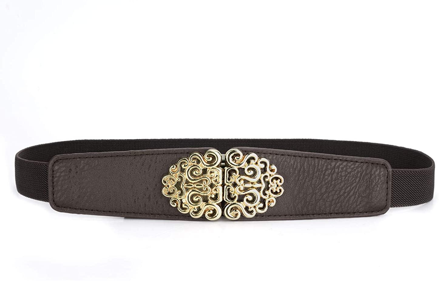 Allegra K Women Gold Tone Flower Design Metal Interlocking Buckle Elastic Cinch Belt Waistbelt