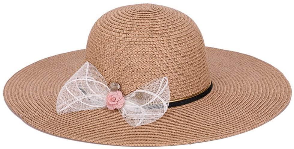 XinQuan Wang Hat Female Summer Foldable Big Visor Korean Version of The Refreshing Sunscreen Beach (Color : Beige)