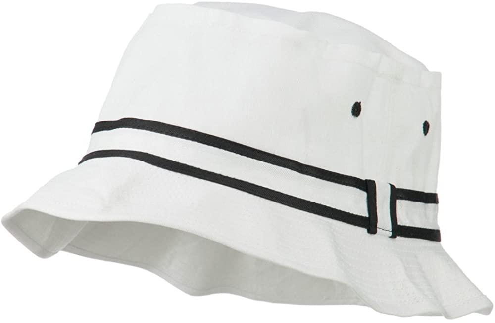 Otto Caps Striped Hat Band Fisherman Bucket Hat - White Black S-M