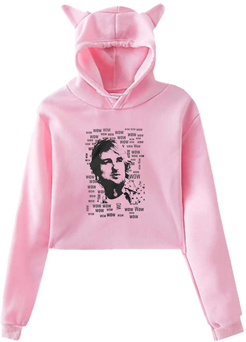 Women's Cat Ear Hoodie Sweater Sweatshirt Wow - Owen Wilson Elegant and Simple Design Pink