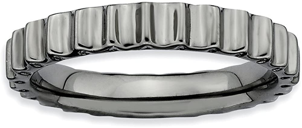 Beautiful Sterling silver 925 sterling Sterling Silver Stackable Expressions Black-plated Ring