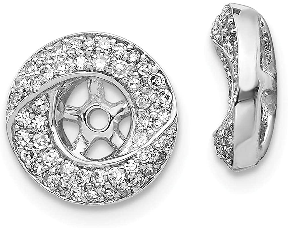 Solid 14K White Gold Diamond Round Earring Jacket 11mm (.368 cttw.)