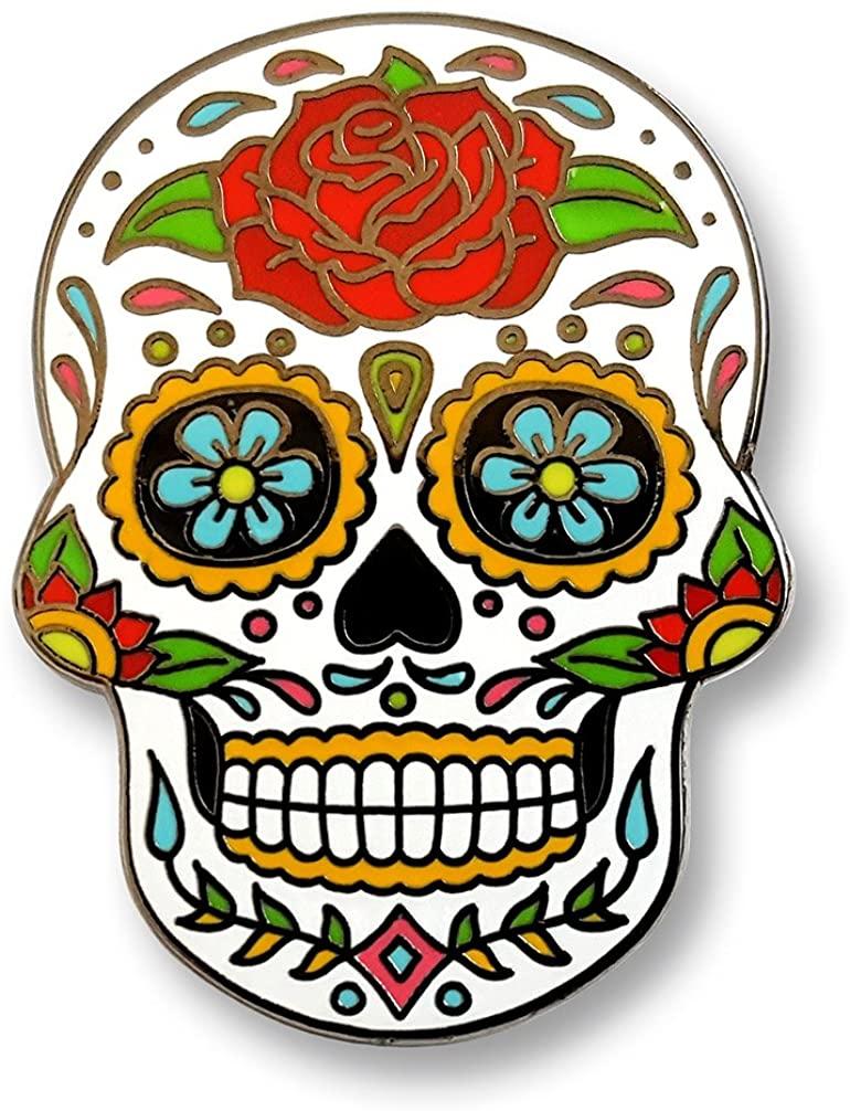 Pinsanity Day of The Dead Sugar Skull Enamel Lapel Pin