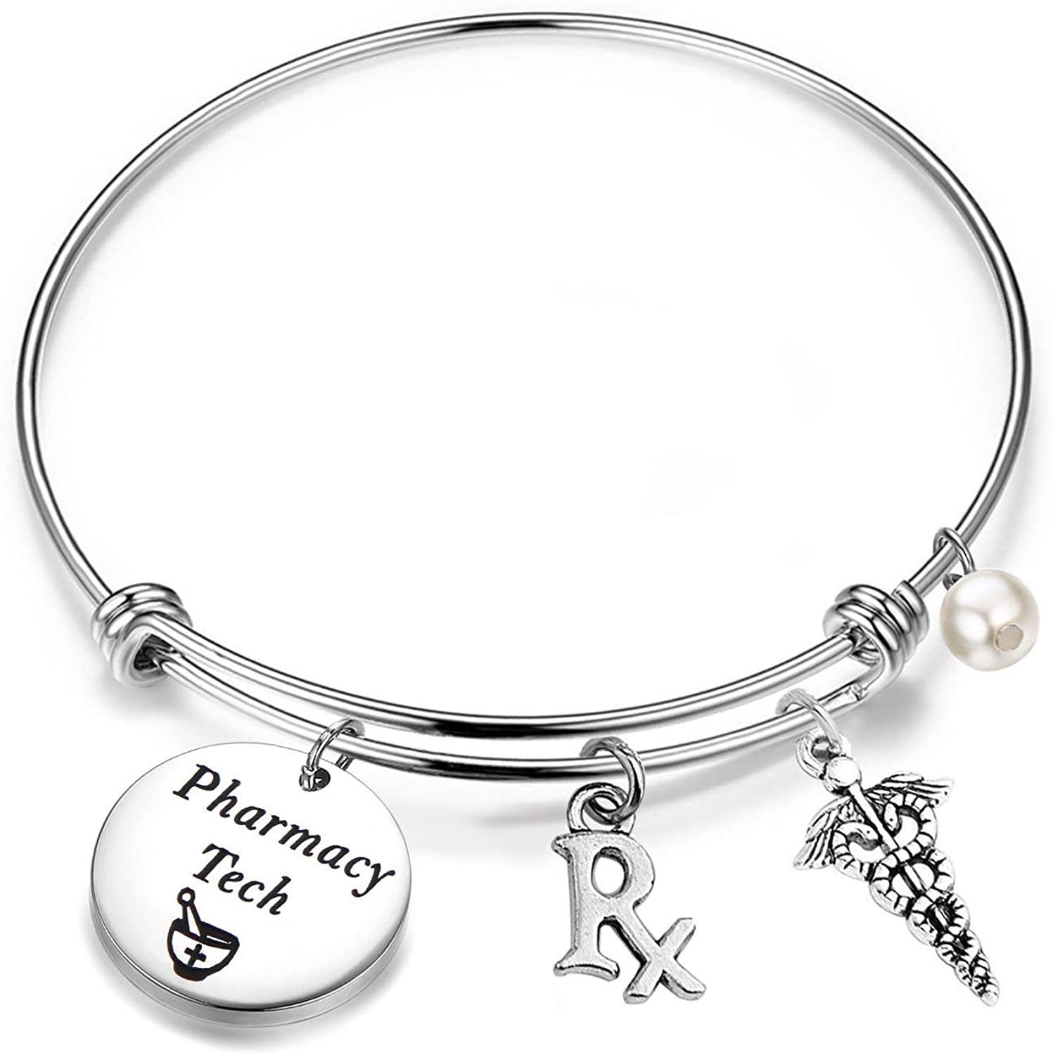 QIIER Pharmacy Tech Gift Pharmacy Technician Bracelet Expandable Wire Bangle RX Jewelry Gift for Pharmacist (Silver)