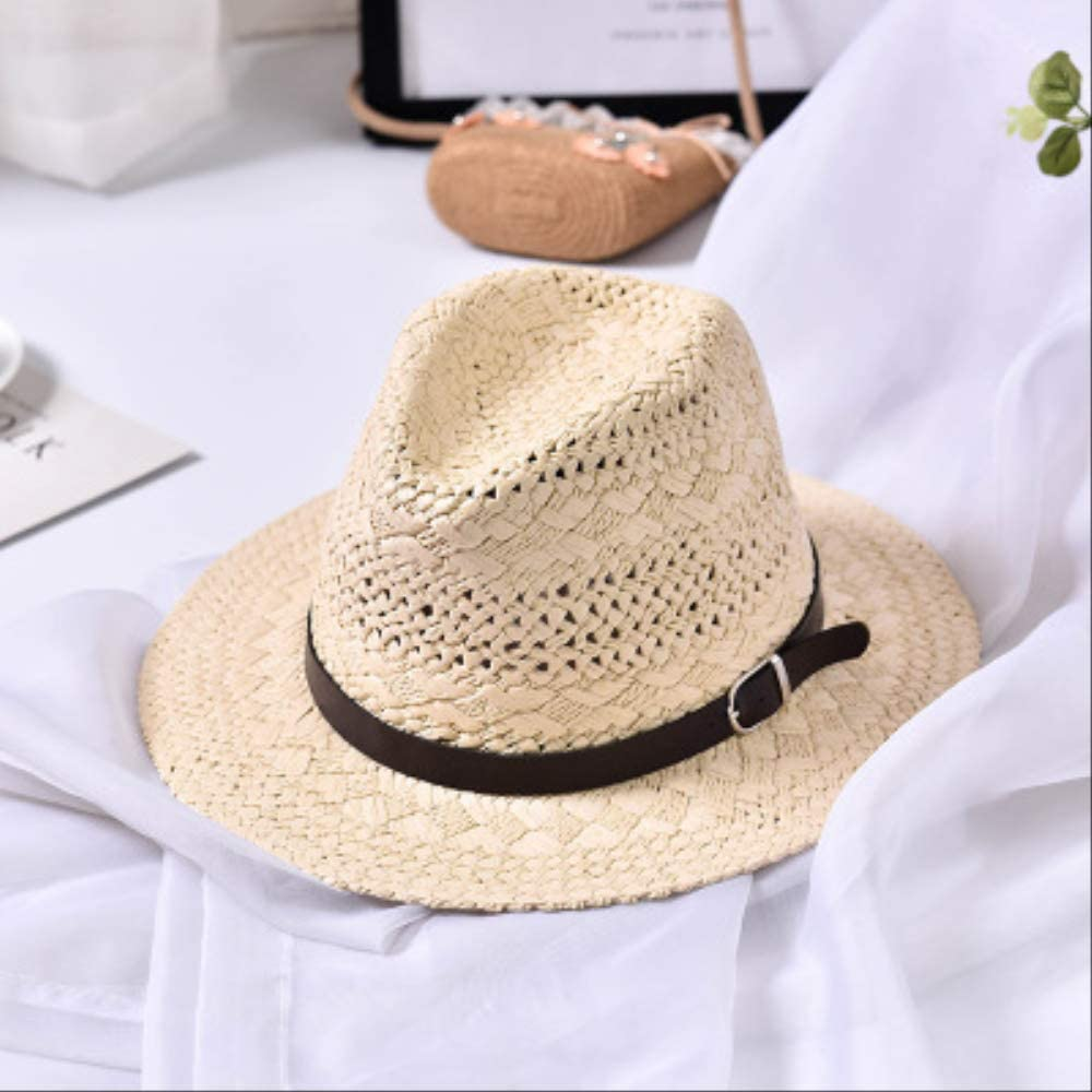 New Summer Fashion Handmade Women's Beach Boho Fedora Straw Hat Sun Hat Sunhat Men Casual Jazz Hat Beige