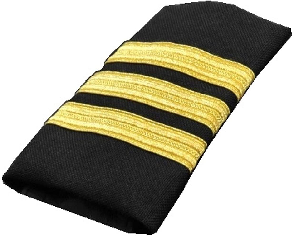 AeroPhoenix - Pilot Three Bar Epaulets - First Officer- Gold Metallic on Navy