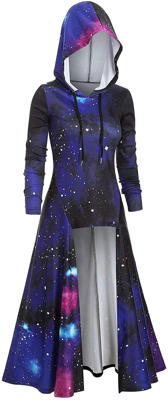 DRESSFO Women's Solid Hooded Drop Shoulder High Low Hem Longline Tie Dye T Shirt