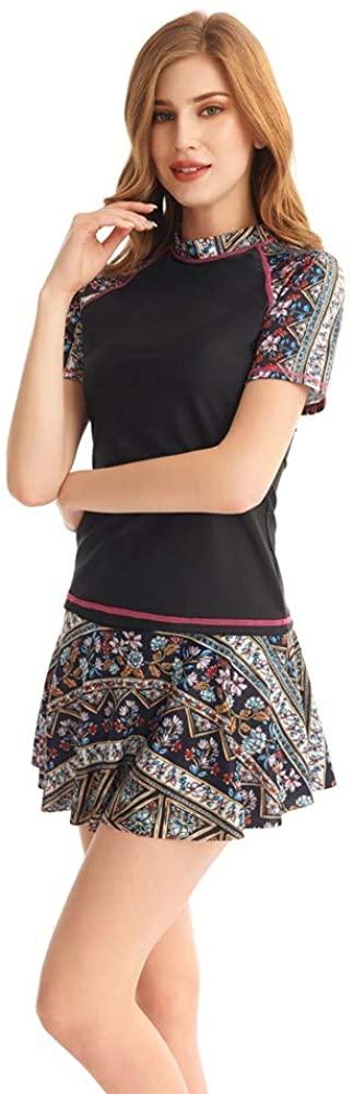 Womens Two Piece Short Sleeve Swimwear Print Tankini Top with Swim Skirt Swimsuit Set