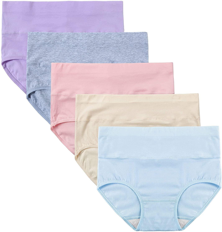 INNERSY Womens Cotton Underwear High Waisted Postpartum Underwear Multipack